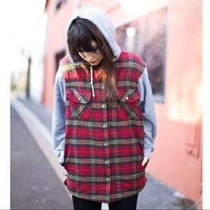 Topshop oversized red flannel hoodie jacket